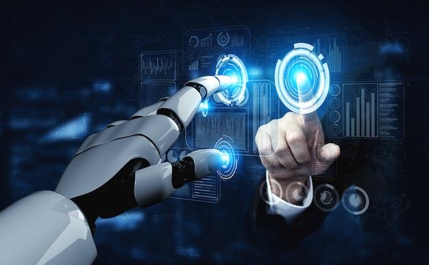 Toekomstige kunstmatige intelligentie robot en cyborg. Premium Foto