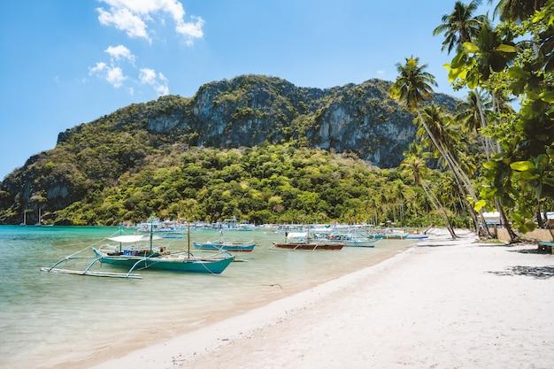 Toerisme dagtocht banca-boten op het prachtige strand van corong corong, el nido. palawan, filippijnen. zomer Premium Foto