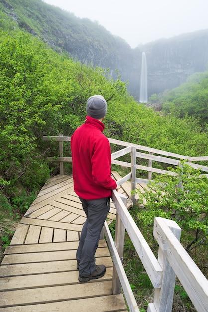 Toerist in een rode jas kijken naar een waterval in ijsland Premium Foto