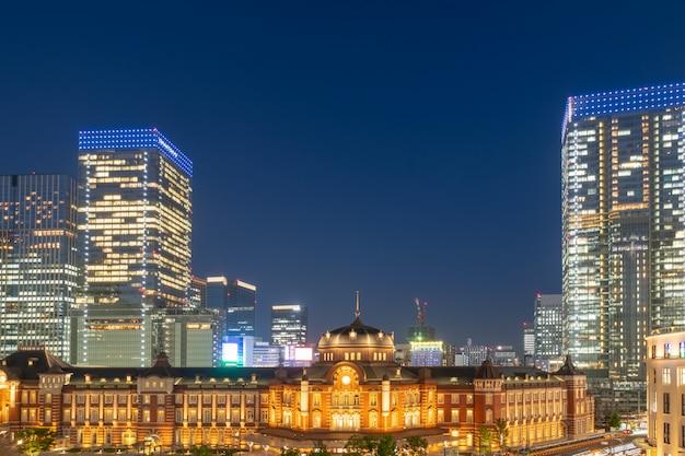 Tokyo station bij night scene Premium Foto
