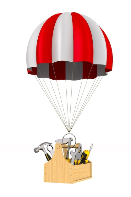 Toolbox en parachute op wit. geïsoleerde 3d-afbeelding Premium Foto
