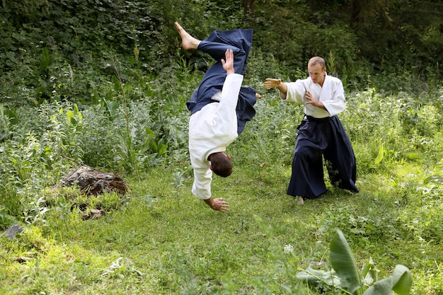 Training vechtsport aikido Premium Foto