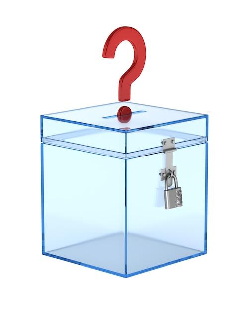 Transparant stemkastje en vraag. geïsoleerde 3d-weergave Premium Foto