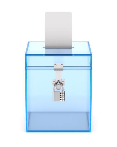 Transparant stemkastje. geïsoleerde 3d-weergave Premium Foto