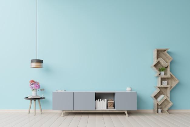 Tribune tv in moderne lege ruimte blauwe muur. Premium Foto