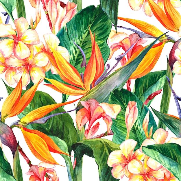 Tropisch naadloos patroon met exotische bloemen Premium Foto