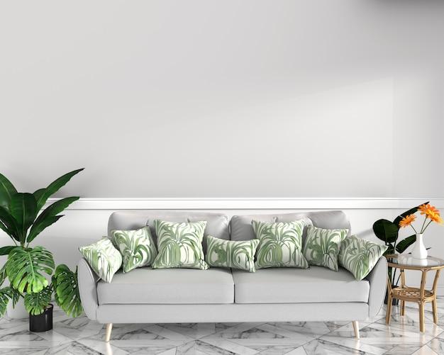 Tropisch ontwerp, fauteuil, plant, kast op granieten vloer en witte achtergrond Premium Foto