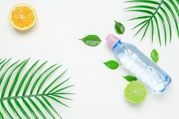 Tropische bladeren en waterfles. detox fruit toegediend water. Premium Foto