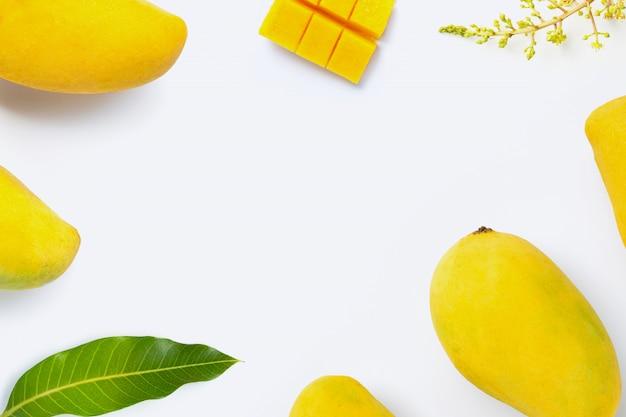 Tropische fruitmango op witte achtergrond Premium Foto
