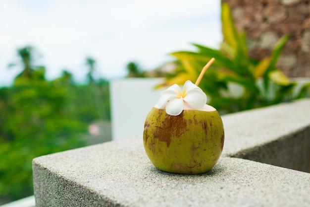 Tropische kokosnoot cocktail versierd plumeria op tafel. Gratis Foto