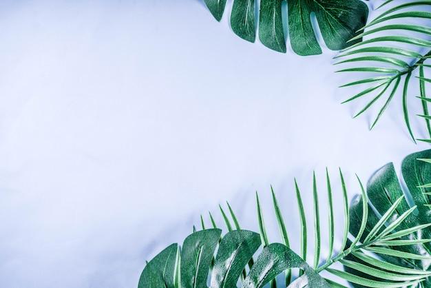 Tropische palm en monstera bladerenachtergrond Premium Foto