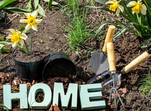 Tuinieren, prachtige lentebloemen met tuinartikelen Gratis Foto