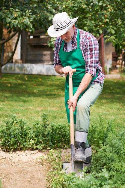 Tuinman zorgt in het voorjaar voor de tuin Gratis Foto