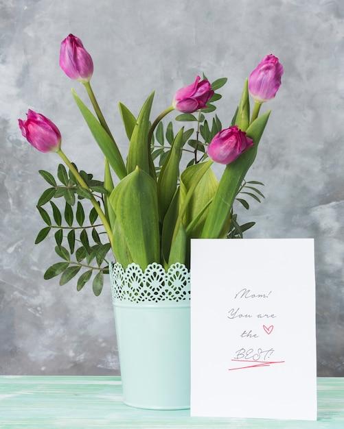 Tulpen en moederdagkaart Gratis Foto