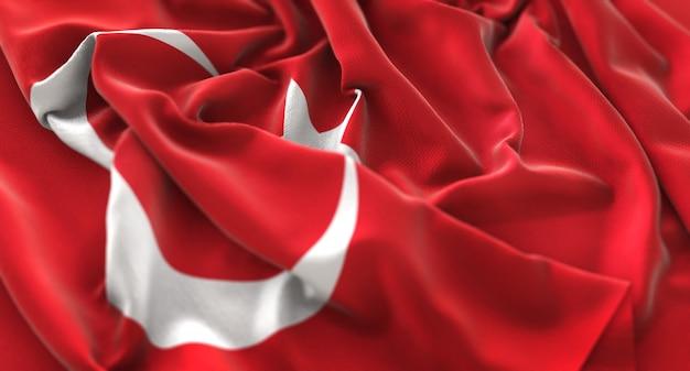 Turkije vlag ruffled mooi wave macro close-up shot Gratis Foto