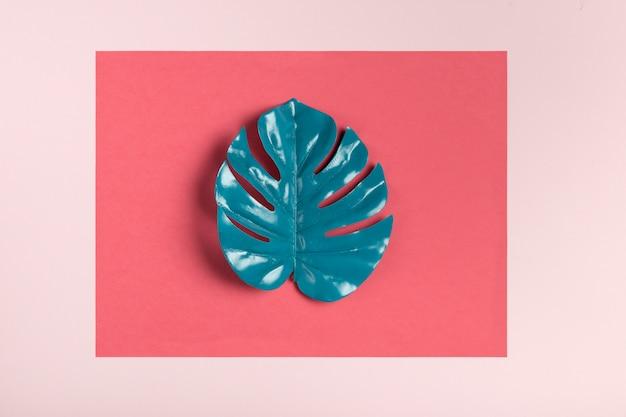 Turquoise blad op roze achtergrond Gratis Foto