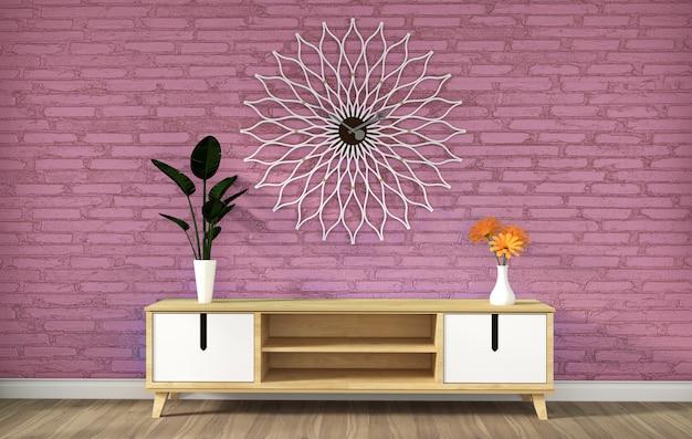 Tv-kabinet in roze moderne zolder lege ruimte, minimale ontwerpen, het 3d teruggeven Premium Foto