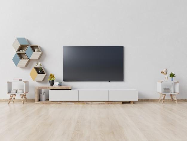 Tv op kabinet in moderne lege ruimte, minimaal ontwerp. Premium Foto