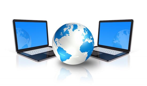 Twee 3d-laptop computers rond een wereldbol geïsoleerd op wit Premium Foto