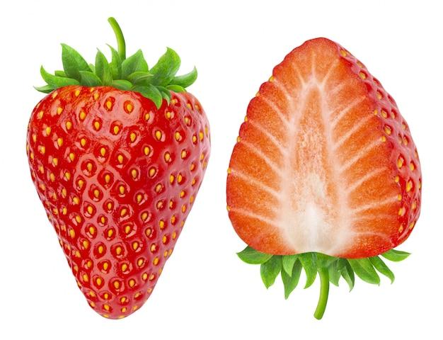 Twee aardbeien geïsoleerd Premium Foto