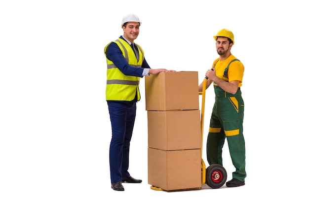Twee arbeiders die op de witte muur worden geïsoleerd Premium Foto