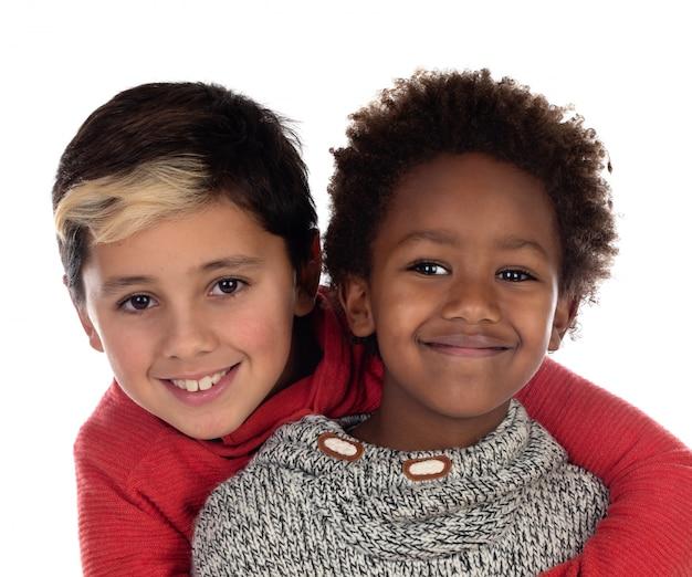 Twee blije broers Premium Foto