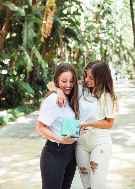 Twee gelukkige vrouwelijke vrienden met giftdoos die zich in park bevinden Gratis Foto