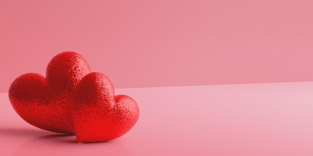 Twee glinsterende rode harten op een roze achtergrond met kleurovergang. valentijnsdag Premium Foto