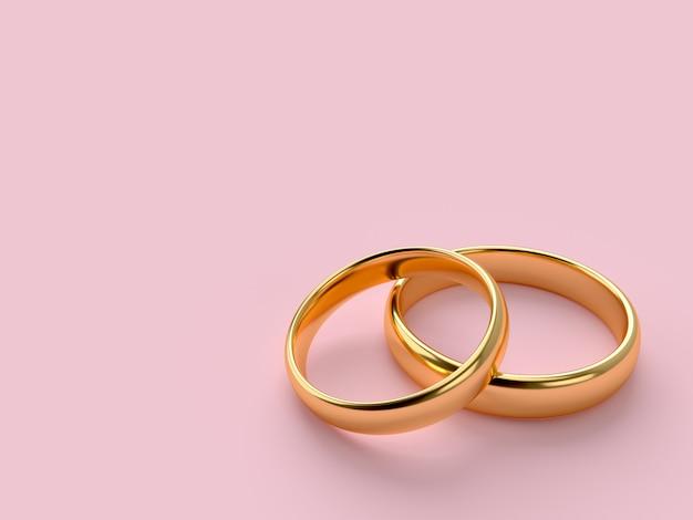 Twee gouden trouwringen met lege ruimte Premium Foto