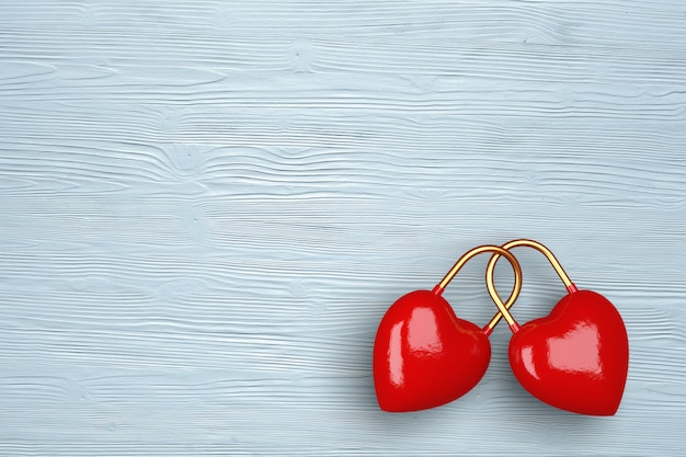 Twee harten op een lichte houten achtergrond. concept voor valentijnsdag. 3d-afbeelding. 3d render. Premium Foto