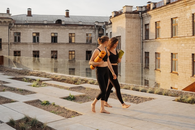 Twee jonge mooie vrouwen in sportkleding gaan sporten, gymnastiek, yoga doen Gratis Foto