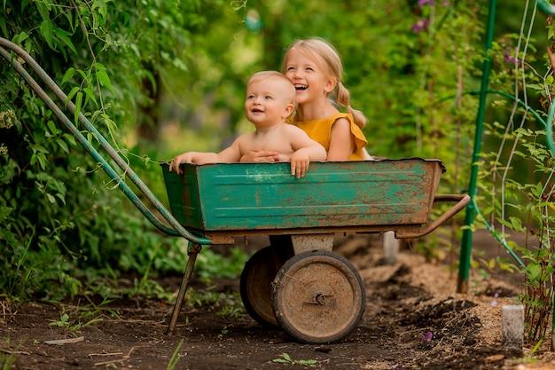 Twee kleine kinderen meisje en jongen in het land in een tuin kruiwagen vergadering glimlachen Premium Foto
