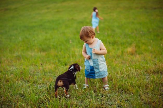 Twee kleine meisjes lopen met een puppy op het veld Gratis Foto