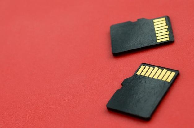 Twee kleine micro sd-geheugenkaarten liggen op een rode achtergrond. een kleine en compacte gegevens- en informatiewinkel Premium Foto