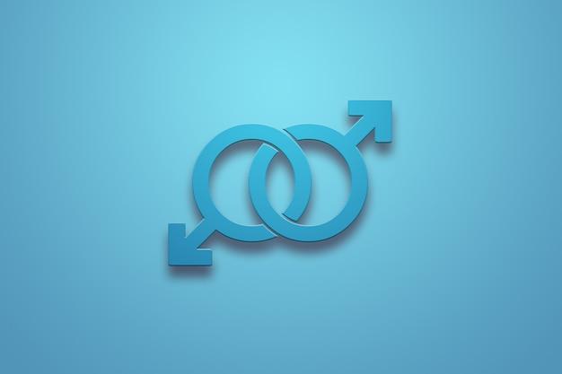 Twee mannelijke blauwe tekens op een blauw Premium Foto