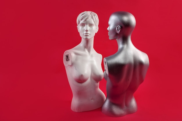 Twee mannequins op een roze muur. mode en design. Premium Foto