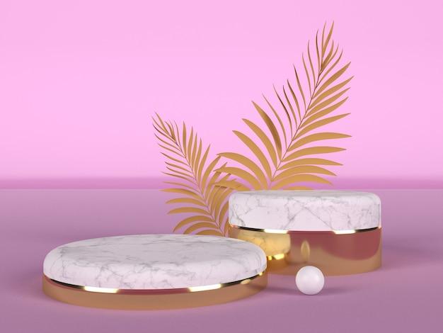 Twee podiums voor showcase gemaakt van wit marmer en goud met twee palmbladeren op roze achtergrond. concept van schoonheid en lichaamsverzorging Premium Foto