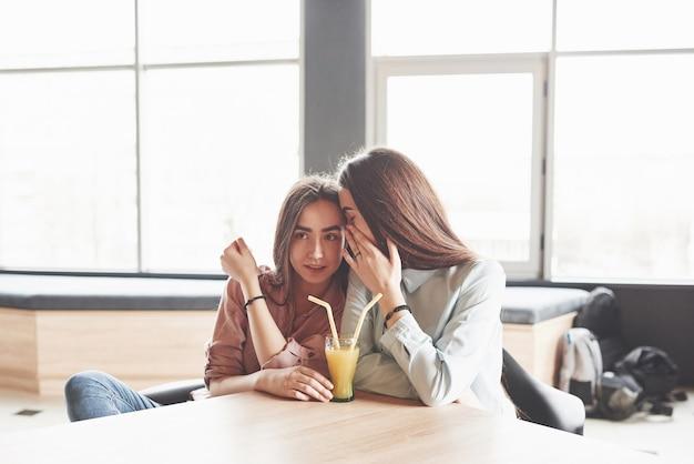 Twee prachtige tweelingmeisjes brengen tijd door met het drinken van sap. Gratis Foto