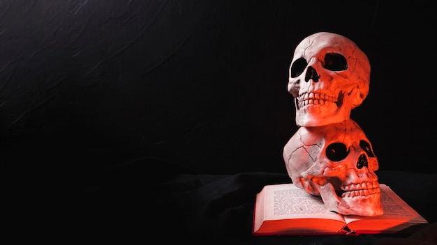 Twee schedels op boek in rood licht Gratis Foto