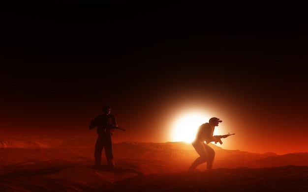 Twee soldaten in de oorlog Gratis Foto