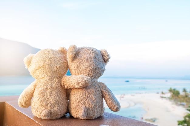Twee teddyberen zitten uitzicht op zee. liefde en relatie concept. prachtig zandstrand Premium Foto