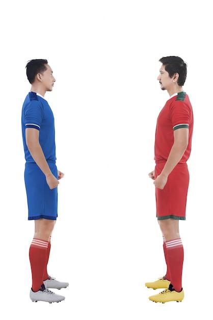 Twee voetballer tegenover elkaar Premium Foto