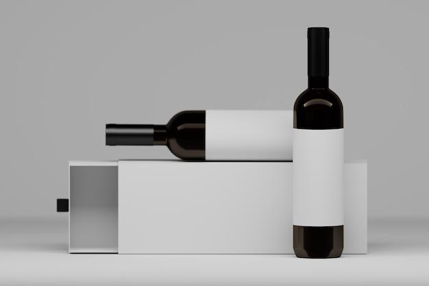 Twee wijnstokflessen met witte etiketten en de doos van de verpakkingsgift op wit. 3d-afbeelding. Premium Foto