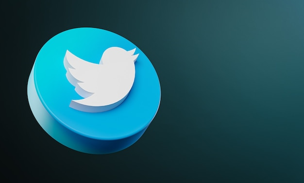 Twitter cirkel knop pictogram 3d met kopie ruimte Premium Foto