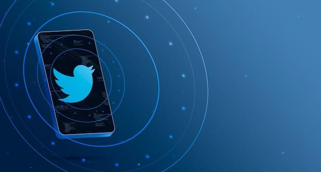 Twitter-logo op telefoon met technologische weergave, slimme 3d render Premium Foto