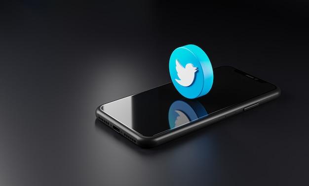 Twitter-logo pictogram via smartphone, 3d-rendering Premium Foto