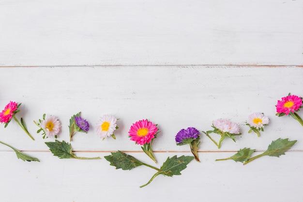 Uiterst kleine bladeren en bloemen op houten tafelblad Gratis Foto