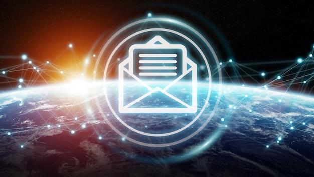 Uitwisseling van e-mails op 3d-weergave op de planeet aarde Premium Foto