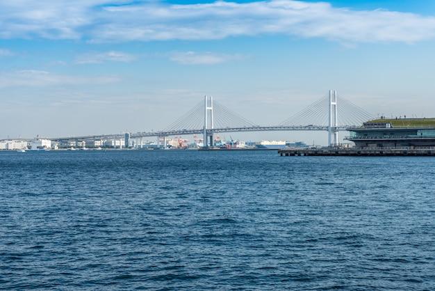 Uitzicht op de baai van yokohama Premium Foto