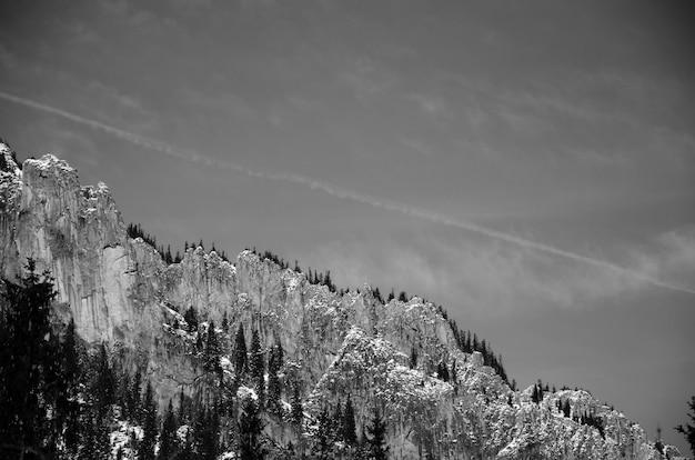 Uitzicht op de berg in zwart en wit Gratis Foto
